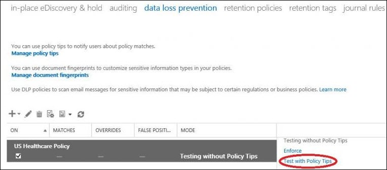 Test with Policy Tips